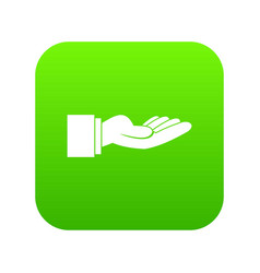 Outstretched hand gesture icon digital green vector