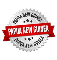Papua New Guinea round silver badge with red vector