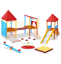 Playground for kids sandbox and carousel vector