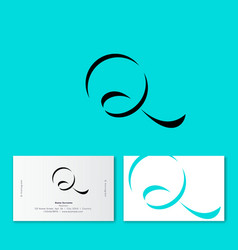 q logo azure ribbon monogram shadow vector image