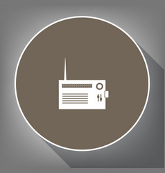 radio sign white icon on vector image