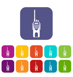 Radio transmitter icons set vector