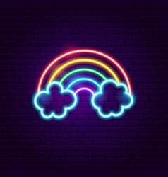 Rainbow with clouds neon label vector