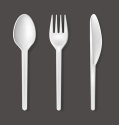 realistic detailed 3d plastic cutlery set vector image