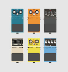Realistic guitar effects pedal and stomp boxes vector
