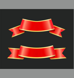 ribbon red banners stripes set vector image