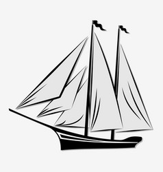 Sailing ship isolated on white background vector