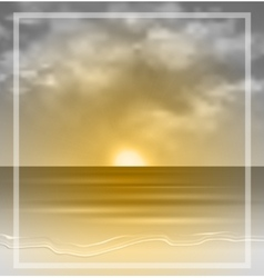Sea sunset monochrome vector image