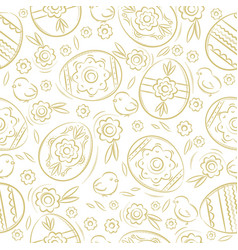 seamless pattern with easter eggs flowers leafs vector image