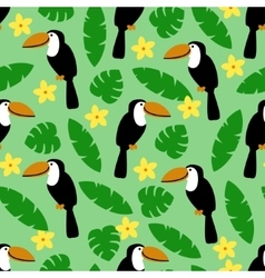 seamless pattern with toucan palm leaves vector image
