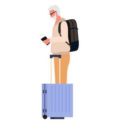 Senior man with luggage and passport traveler vector