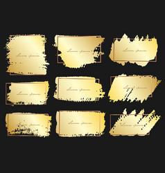 Set of brush stroke frame gold grunge brush vector