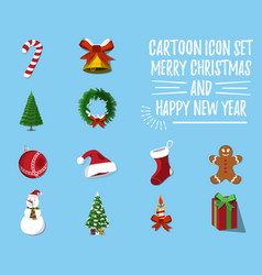 Set of christmas and happy new year vector
