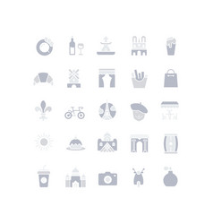 set simple icons paris vector image