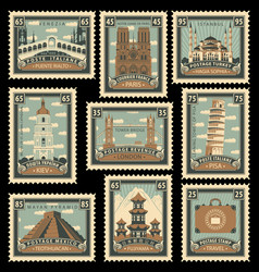 set stamps with architectural historical sites vector image
