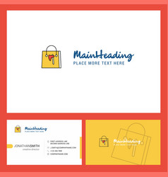 shopping bag logo design with tagline front and vector image
