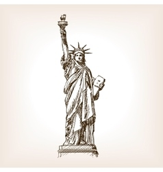 Statue of Liberty hand drawn sketch style vector