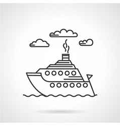 Steamship black line icon vector