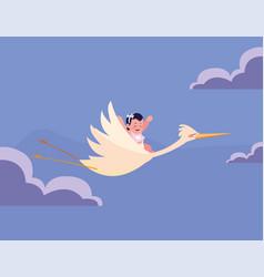 Stork carrying a cute bagirl vector