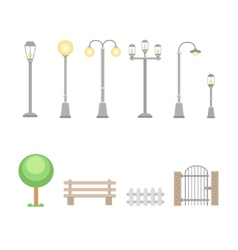 Street lights and lamps set Outdoor elements vector image