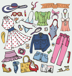summer fashion setwomangirl colored wear vector image