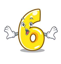 surprised number six door sign on cartoon vector image