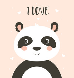 valentines card with cute panda vector image