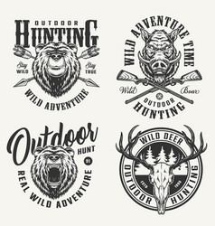 vintage monochrome hunting badges vector image