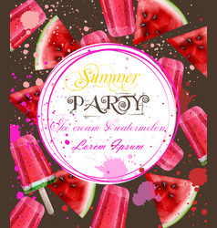 watercolor ice cream and watermelon card vector image