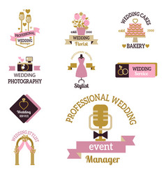 wedding photo or event agency logo badge vector image