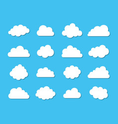 white cloud icons collection on blue vector image