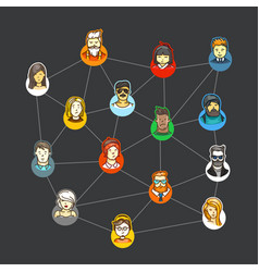 world social network concept vector image