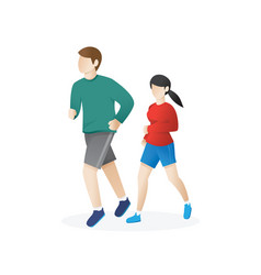 young man and a woman running vector image