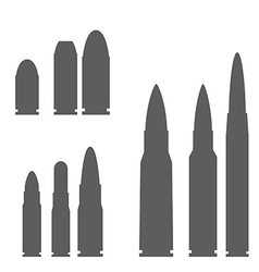 Set of Bullets Silhouettes vector image