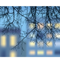 silhouette of the descending branches vector image