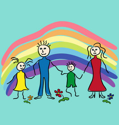 family and rainbow vector image