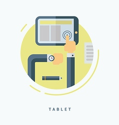 Flat Style Tablet PC Concept Man Working with vector image