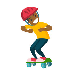 happy african-american boy riding a skateboard vector image vector image