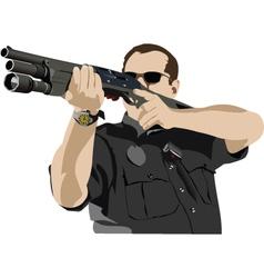 policeman with gun vector image vector image