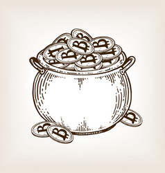 pot of coins engraving vector image