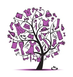 Wardrobe clothes on tree for your design vector image