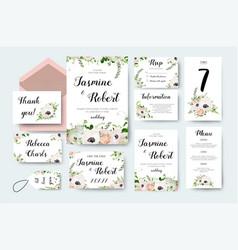 wedding invitation invite flower invite card vector image