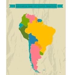 Editable South America map with all countries vector image