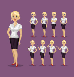 woman in business style set of poses and emotions vector image vector image