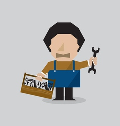 Worker Man With Toolbox vector image