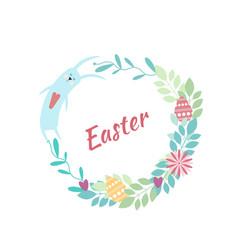 Easter round frame rabbit flowers plants eggs vector