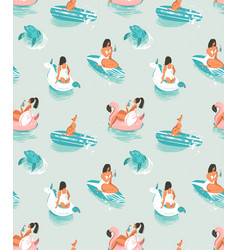hand drawn cartoon summer time seamless vector image vector image