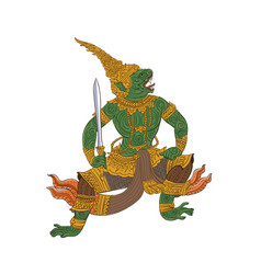 ramakien-pale thai traditional painting vector image vector image