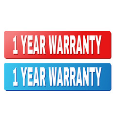 1 year warranty title on blue and red rectangle vector image