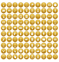 100 touch screen icons set gold vector